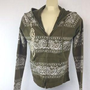 Olive green Ed Hardy long sleeve hoodie, full zip